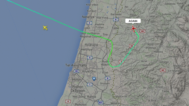 طيارة خطوط كندا تغير مسارها عند اطلاق صواريخ من غزة (flightradar)