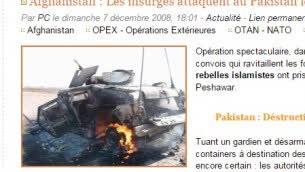 الصورة الأصلية للمركبة المصابة في افغانستان، حزب الله استخدم الصورة للادعاء انها مركبة اسرائيلية اصيبت بالقرب من الحدود اللبنانية (Screen capture)