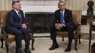 الرئيس الأمريكي باراك اوباما يلتقي بملك الأردن عبد الله الثاني في البيت الأبيض، 3 فبراير 2015 (AFP/SAUL LOEB)