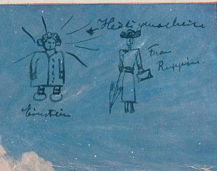 رسم الفيزيائي الشهير على الصورة في البطاقة البريدية رسم ذاتي مع هالة حول رأسه، يالاضافة الى حنا روبين، مستلمة البطاقة (courtesy: RR Auction)