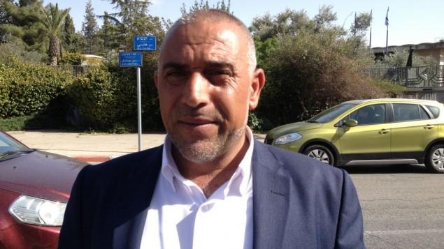 عضو الكنيست طلب ابو عرار مع  المتظاهرين من اجل النقب في القدس 29 مارس 2015  (بعدسة الحانان ميلر)