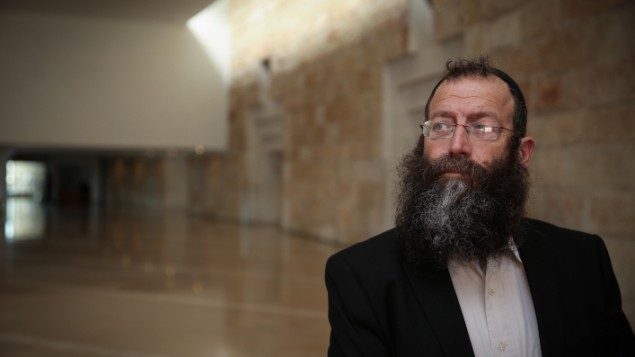 اليميني المتطرف باروخ مارزل في المحكمة العليا في القدس، 17 فبراير 2015 (Hadas Parush/FLASH90)