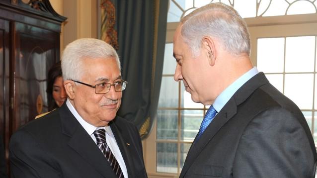 رئيس السلطة الفلسطينية محمود عباس ورئيس الوزراء بنيامين نتنياهو في مؤتمر سلام في واشنطن، 2 سبتمبر 2010 (Moshe Milner/GPO/Flash90