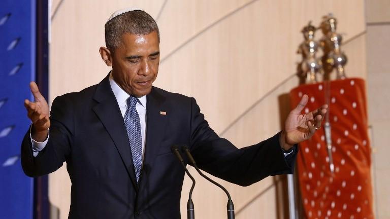 الرئيس الأمريكي باراك أوباما خلال خطاب في احتفاليات شهر الإرث اليهودي الأمريكي، 22 مايو 2015 (Chip Somodevilla/Getty Images/AFP)