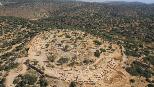 موقع خربة قيافا في وادي السنط (Skyview Company/ courtesy, Hebrew University and Israel Antiquities Authority)