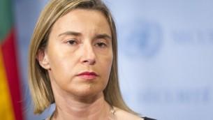 وزيرة خارجية الاتحاد الأوروبي فيديريكا موغيريني، 11 مايو 2015 (UN/Mark Garten)