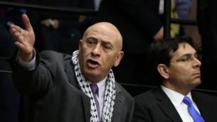 عضو الكنيست باسل غطاس من القائمة العربية المشتركة في الكنيست. 12 فباراير، 2015. (Hadas Parush/FLASH90)