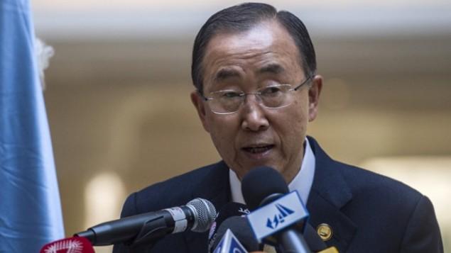 أمين عام الامم المتحدة بان كي مون خلال مؤتمر المانحين لغزة في القاهرة، مصر، 12 اكتوبر 2014 (AFP/Khaled Desouki)