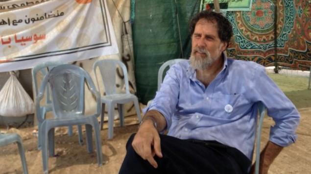 الحاخام أريك أشرمان في سوسيا، 19 يوليو، 2015. (Elhanan Miller/Times of Israel)