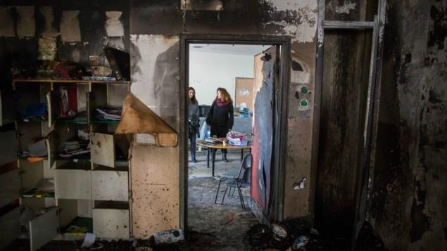 """احد الصفوف في مدرسة """"يد بيد"""" التي تم تخريبها في 28 نوفمبر 2014  (Yonatan Sindel/Flash90/JTA)"""