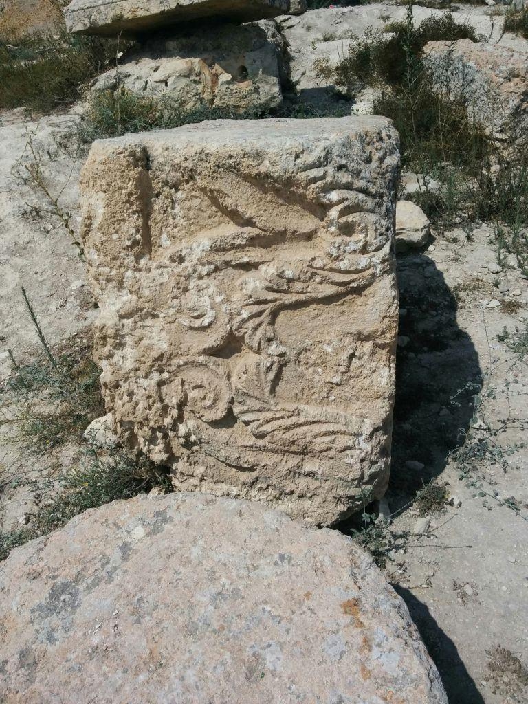 حجر منقوش في بقايا الكاتدارائية الرومانية في سبسطية بالضفة الغربية (Ilan Ben Zion/Times of Israel)