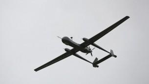"""صورة توضيحية لطائرة بدون طيار اسرائيلية من طراز """"هيرون تي بي"""" (JONATHAN NACKSTRAND / AFP)"""