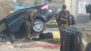 جثمان اشرقت قطناني (16 عاما) بالقرب من محطة حافلات في الضفة الغربية حيث قتلت اثناء محاولة طعن اسرائيليين (Samaria Region Council)