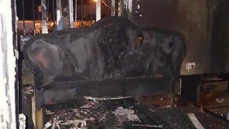الاضرار في منزل ابراهيم دوابشة، الشاهد المركزي في قضية هجوم الصيف الماضي في دوما، حيث قتل ثلاثة من افراد عائلة دوابشة، 20 مارس 2016 (Facebook)