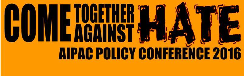 """شعار مجموعة 'تجمعوا معا ضد الكراهية' في الفيسبوك، """"للمشاركين في مؤتمر ايباك لرفض الكراهية، وخاصة كراهية دونالد ترامب"""""""