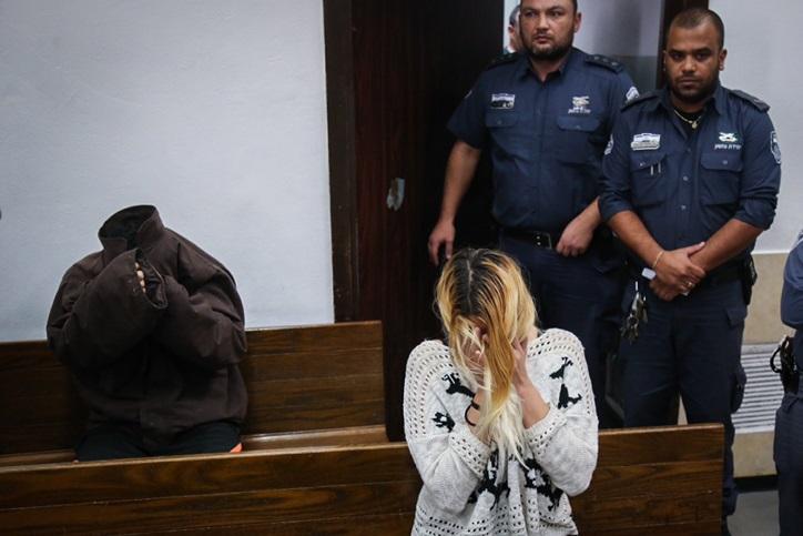 شيري سوبول ودافيد اردان خلال جلسة في محكمة الصلح في تل ابيب، 19 فبراير 2016 (Flash90)