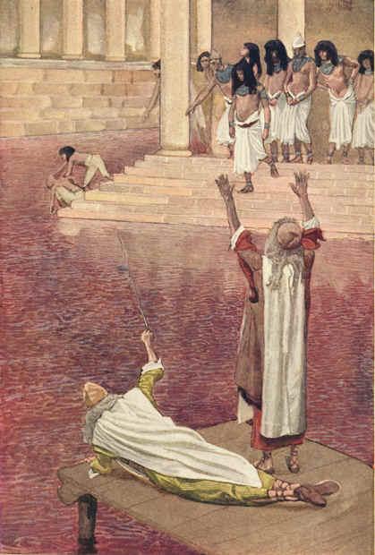 الضربة الاولى: تغيير المياه الى دماء، بريشة الرسام الفرنسي من القرن ال19 جيمس تيسو (Wikipedia)