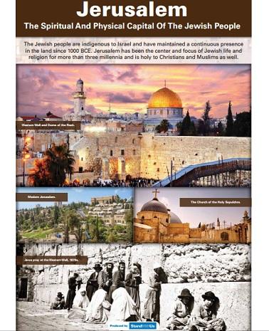 اللوحة عن القدس التي تمت إزالتها من قبل مسؤولين في الأمم المتحدة من معرض حول إسرائيل نظمته البعثة إسرائيل الدائمة لدى الأمم المتحدة بالتعاون مع منظمة StandWithUs والذي من المقرر أن يبدأ فعالياته في 4 أبريل، 2016. (Israeli Mission to the UN)