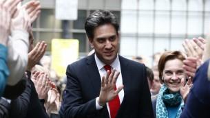 زعيم حزب العمال البريطاني السابق إد ميليباند في مقر الحزب في لندن، 8 مايو 2015 (AFP Photo/Justin Tallis)