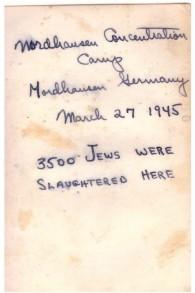 خط يد جولز هلفنر على ظهر صورة من معسكر الإعتقال ميتلباو-دورا. ملاحظة: فرقة المشاة 104 حررت المعسكر في 11 أبريل، وليس في 27 مارس