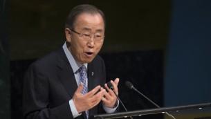 امين عام الامم المتحدة بان كي مون في مقر الامم المتحدة في نيويورك، 14 مارس 2016 (AFP/Don Emmert)