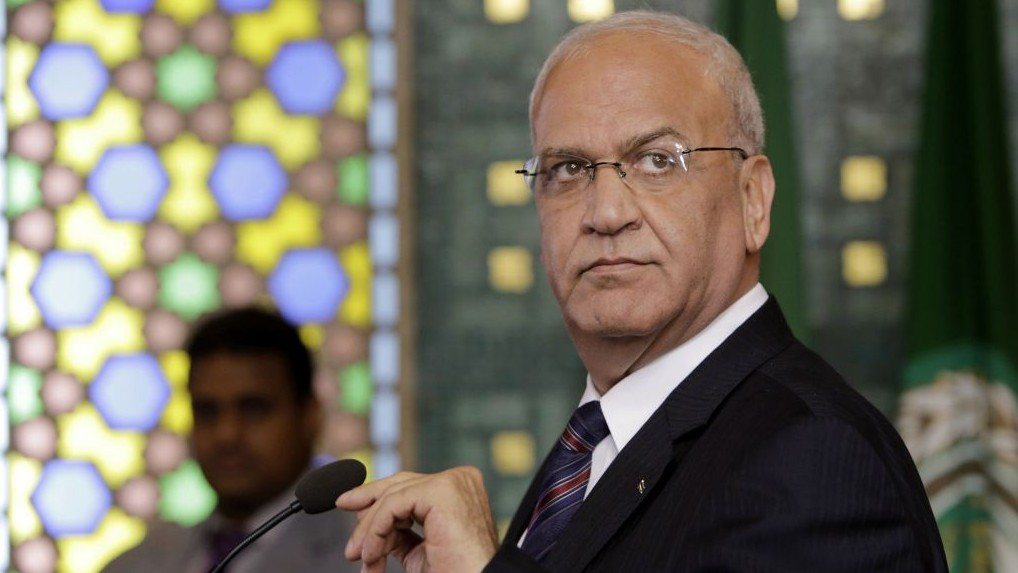 Palestinian negotiator Saeb Erekat at a press conference following an emergency meeting at the Arab League headquarters in Cairo, Egypt, Monday, Aug. 11, 2014. AP/Amr Nabil
