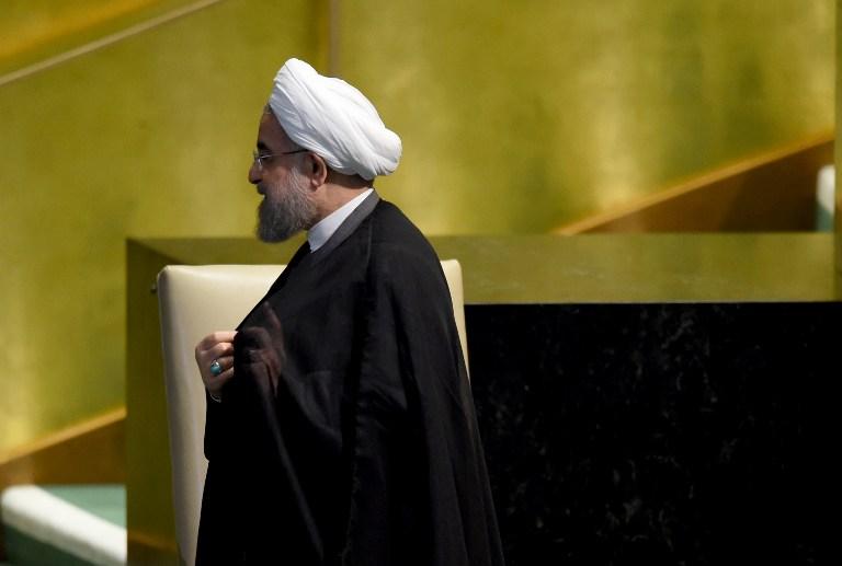 الرئيس الإيراني حسن روحاني بعد تقديم خطابه امام الجمعية العامة للأمم المتحدة في نيويورك، 22 سبتمبر 2016 (AFP/Timothy A. Clary)