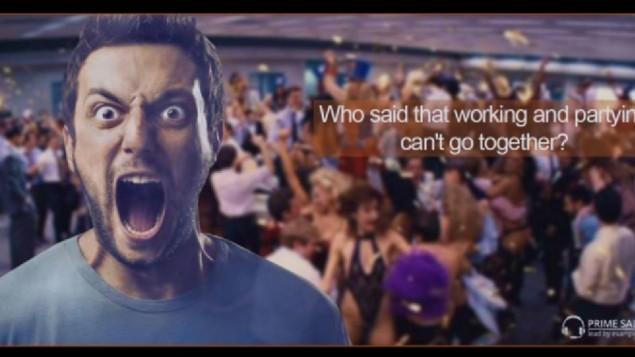 إعلان لشركة الخيارات الثانية 'برايم سيلز' يتضمن صورة من 'ذئاب وول ستريت' (لقطة شاشة)