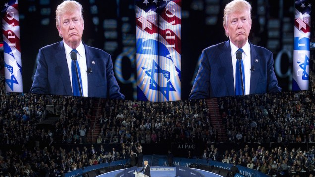 دونالد ترامب خلال حديث له أمام المؤتمر السنوي للجنة الشؤون العامة الأمريكية الإسرائيلية (إيباك) في مركز فيرايزون في العاصمة واشنطن، 21 مارس، 2016. (Saul Loeb/AFP/Getty Images via JTA)