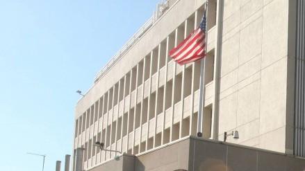 السفارة الامريكية في تل ابيب (Roni Schutzer/Flash90)