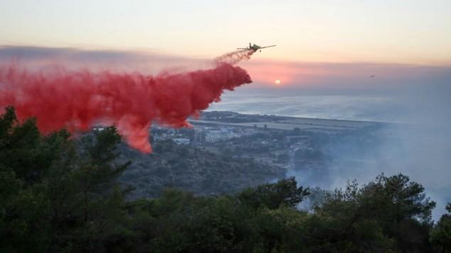 طائرة اطفاء اسرائيلية تحاول اخماد حريق في مدينة حيفا لشمالية، 24 نوفمبر 2016 (Yaakov Cohen/Flash90)