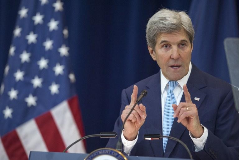 وزير الخارجية الامريكية جون كيري يلقي خطابا حول السلام في الشرق الأوسط في واشنطن 28 ديسمبر 2016 (AFP PHOTO / PAUL J. RICHARDS)