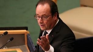 الرئيس الفرنسي فرانسوا هولاند يقدم خطاب امام الجمعية العامة للامم المتحدة في نيويورك، 20 سبتمبر 2016 (John Moore/Getty Images/AFP)