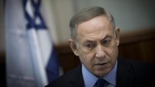 رئيس الوزراء بنيامين نتنياهو يقود الجلسة الاسبوعية للحكومة في مكتب رئيس الوزراء في القدس، 25 ديسمبر 2016 (Yonatan Sindel/Flash90)