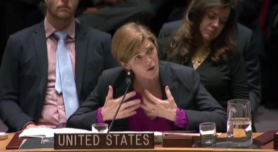 السفيرة الامريكية للأمم المتحدة، سمانتا باور، تخاطب مجلس الامن الدولي بعد الامتناع عن التصويت على مشروع قرار ضد الاستيطان الإسرائيلي، 23 ديسمبر 2016 (UN Screenshot)