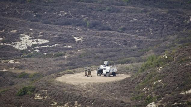 دورية اممية على الحدود الإسرائيلية اللبنانية، نوفمبر 2016 (Doron Horowitz/FLASH90)