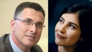 وزير الداخلية السابق جدعون ساعار ومذيعة الاخبار غؤولا ايفين (Yoav Ari Dudkevitch/Moshe Shai/Flash90)
