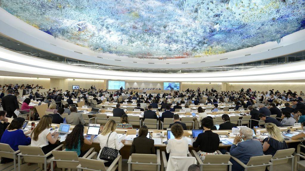 مجلس حقوق الانسان الدولي خلال حوار تفاعلي مع اللجنة المستقلة لتقصي الحقائق حول الحرب بين اسرائيل وحماس عام 2014 في قطاع غزة، 29 يونيو 2015 (UN photo)