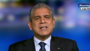 المندوب الفلسطيني السابق في واشنطن معن عريقات (screen capture: YouTube/CNN)