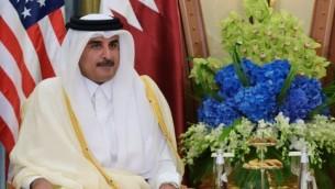 الامير القطري الشيخ تميم بن حمد الثاني في الرياض، 21 مايو 2017 (AFP/ MANDEL NGAN)