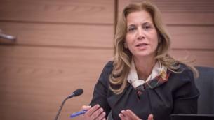 عضو الكنيست من حزب يش عتيد تتحدث امام لجنة الشؤون الداخلية في الكنيست، 14 يونيو 2016 (Hadas Parush/Flash90)