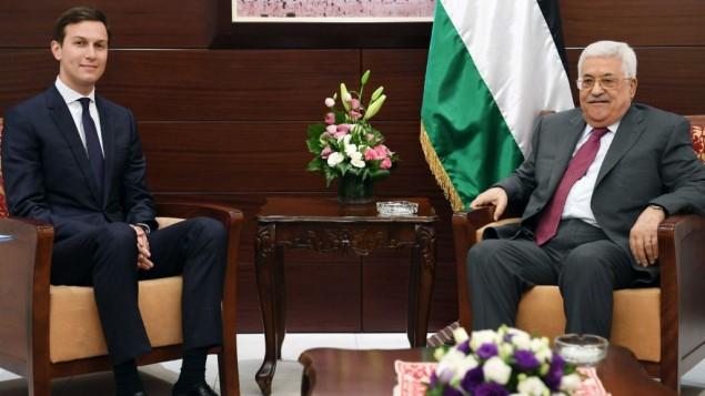 مستشار الرئيس الأمريكي جاريد كوشنر يلتقي برئيس السلطة الفلسطينية محمود عباس في رام الله في 21 يونيو، 2017. (PA press office)