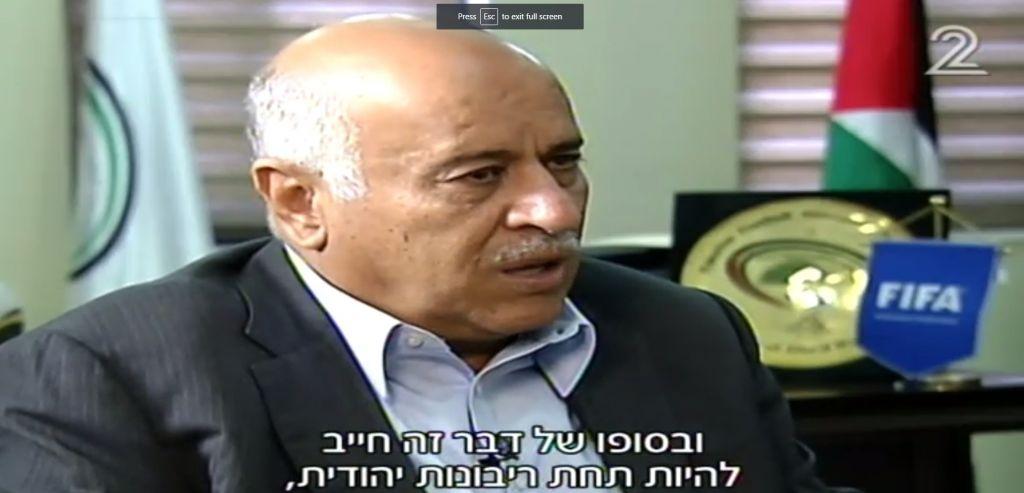جبريل رجوب يقول للقناة الثانية انه على الحائط الغربي ان يكون تحت 'سيادة يهودية'، 3 يونيو 2017 (Channel 2 screenshot)