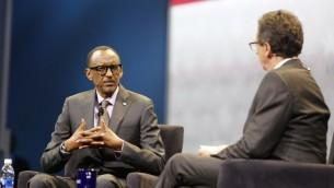 رئيس رواندا بول كاغامي يتحدث خلال المؤتمر السنوي لإيباك في واشنطن، 26 مارس 2017 (AFP Photo/Andrew Biraj)
