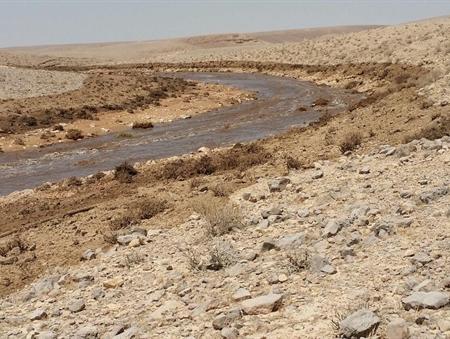 نهر اشاليم بعد تسريب مياه حامضية من مصنع سماد مجاور، 30 يونيو 2017 (Environment Protection Ministry)