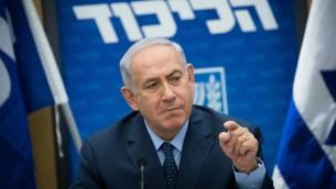 رئيس الوزراء بينيامين نتنياهو يرأس جلسة لحزب 'الليكود' في الكنيست، في القدس، 10 يوليو، 2017. (Yonatan Sindel/Flash90)