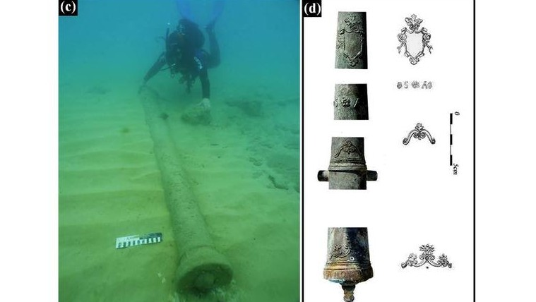 المدافع البرونزية عند اكتشافها في البحر والعناصر الزخرفية على المدفع C بعد تنظيفه. (Photos: E. Galili)