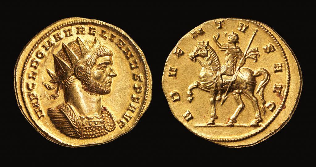 قطعة معدنية تحمل رسما لماركوس أوريليوس، حوالي 274 ميلادية. (Elie Posner)