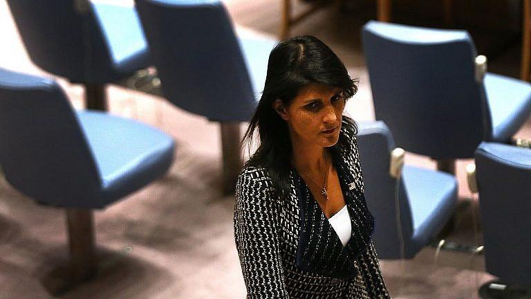 السفيرة الامريكية الى الامم المتحدة نيكي هايلي خلال اجتماع لمجلس الامن الدولي، 29 اغسطس 2017 (Spencer Platt/Getty Images/AFP)