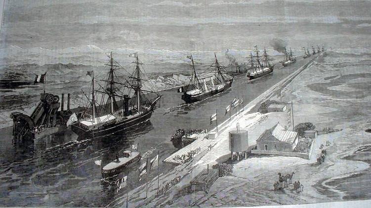 موكب في قناة السويس 1869. (public/iln.org.uk)